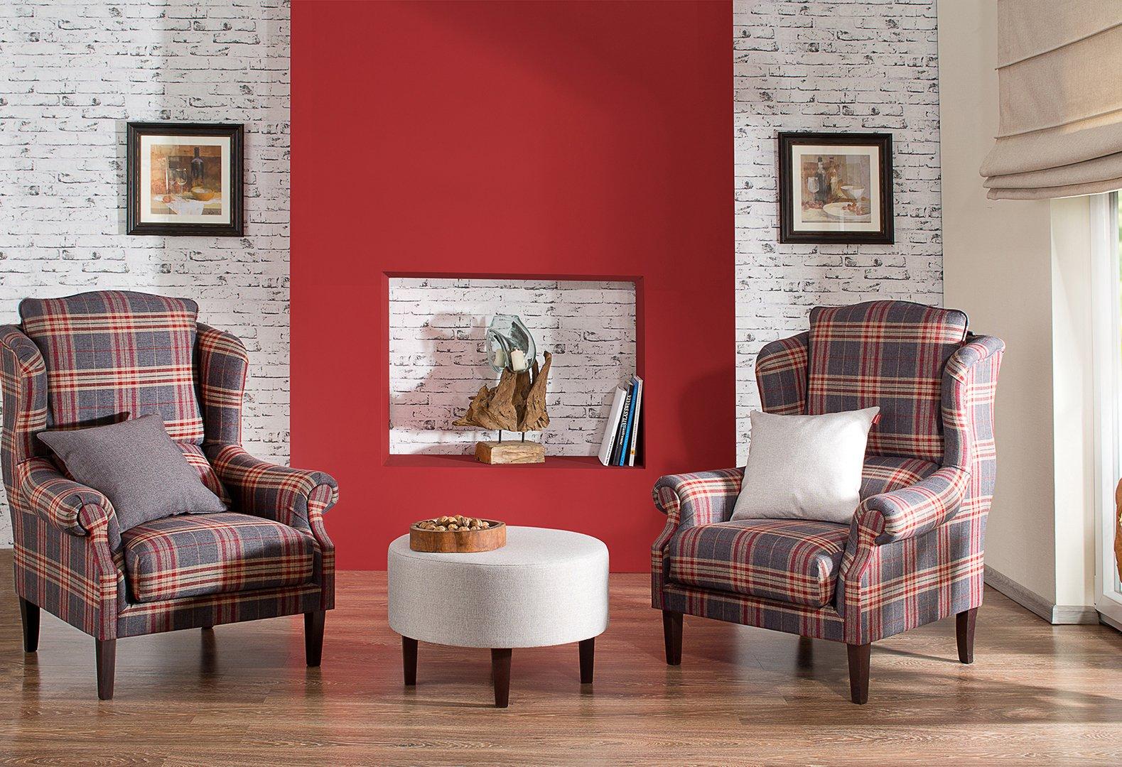 Obývací pokoj - látky Edinburgh - šedá a bordó
