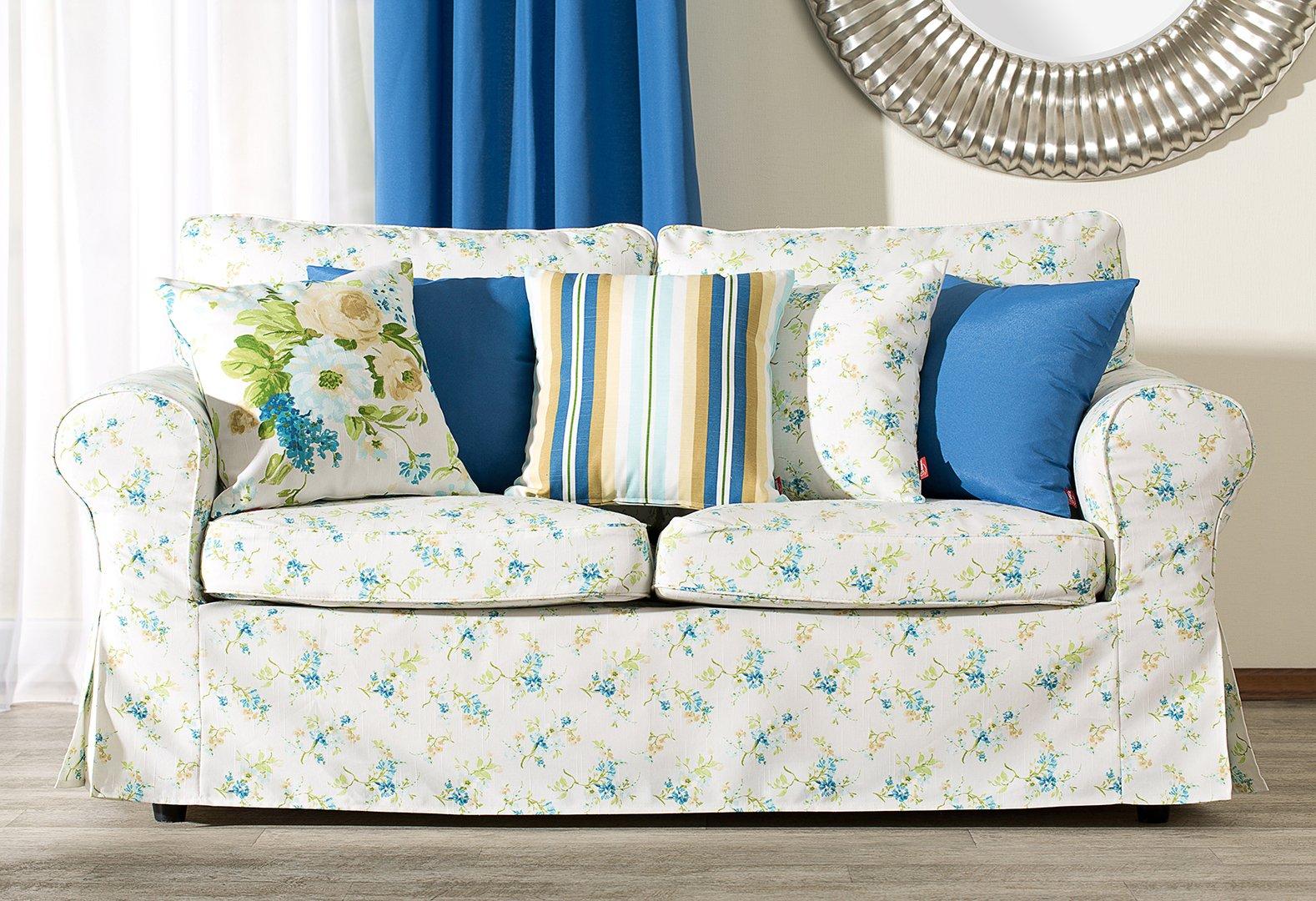 Woonkamer Mirella - blauwe bloemen en strepen