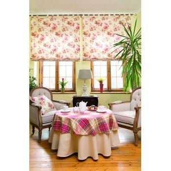 Obývačka Mirella - ružové káro a kvety