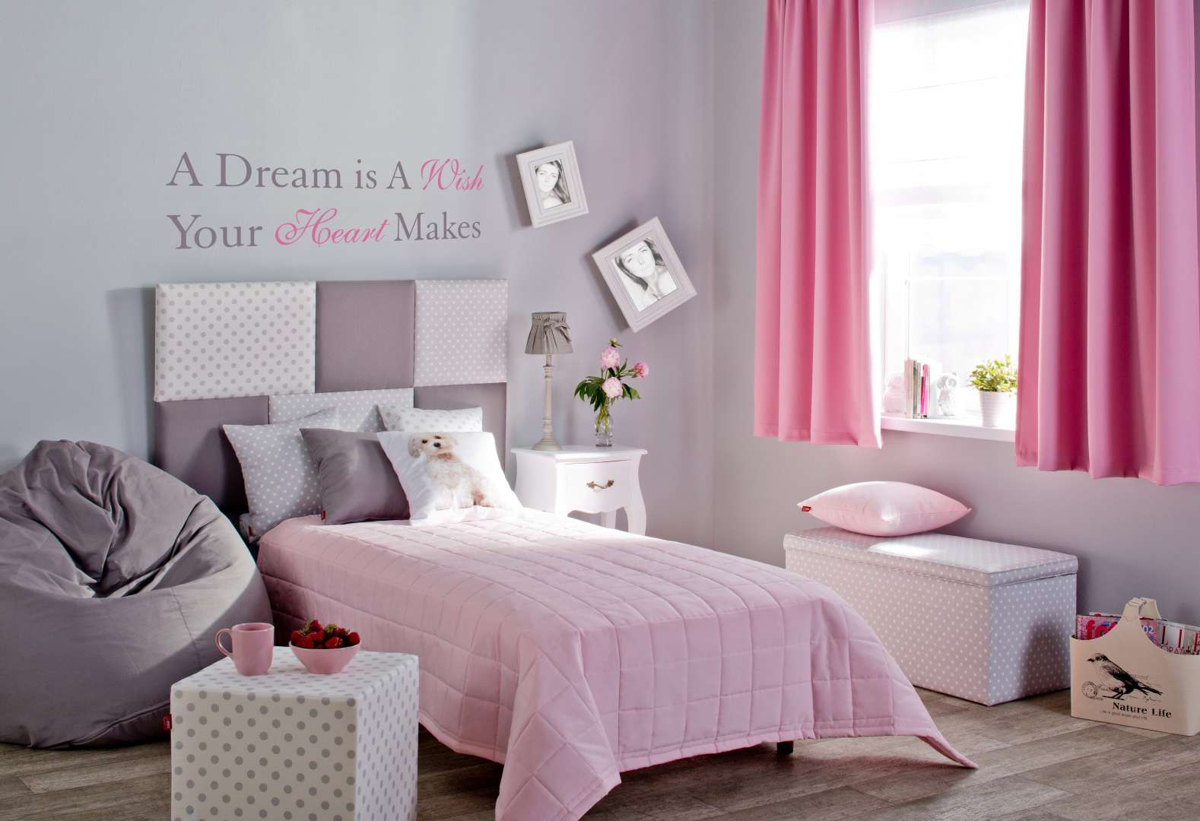 Pokój dziecięcy szaro-różowy