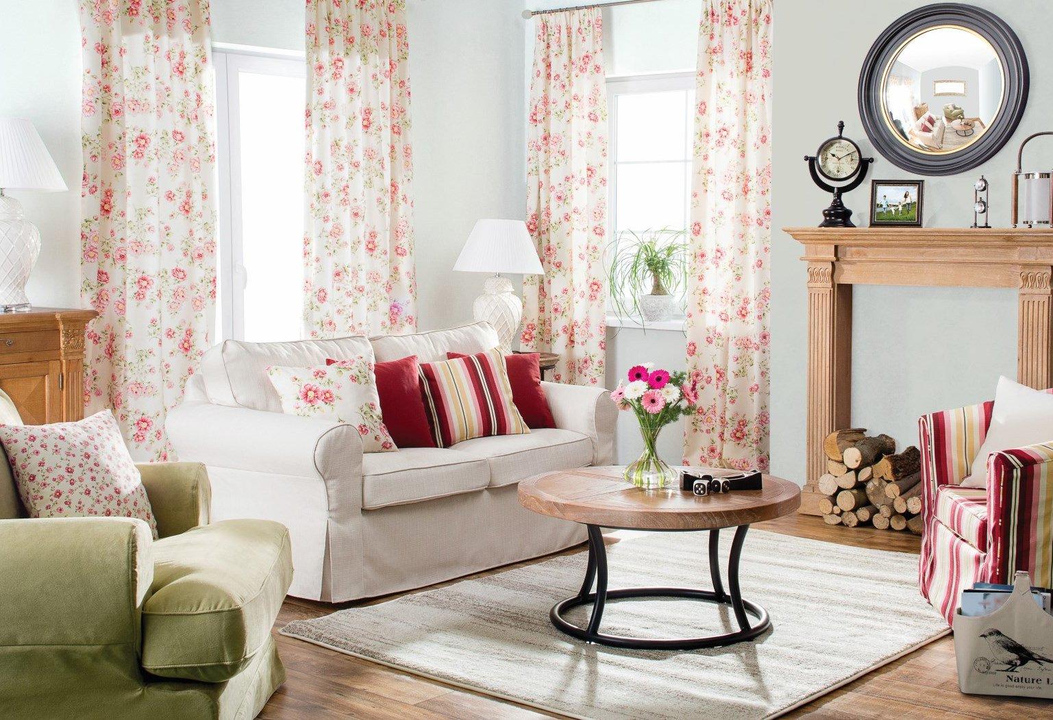 Obývačka oblečená do ruží