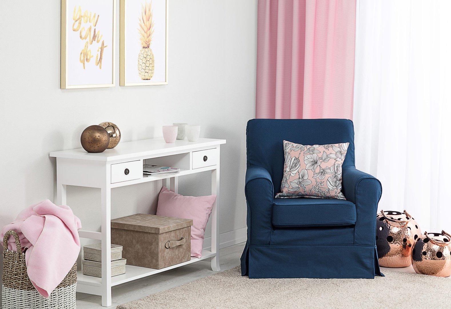 Living room Navy Blue & Pink