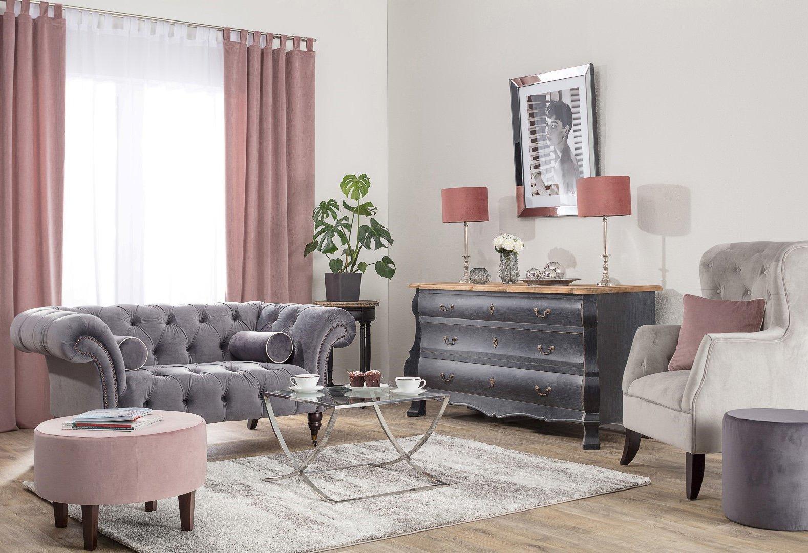 Living Room Blush & Grey Velvet