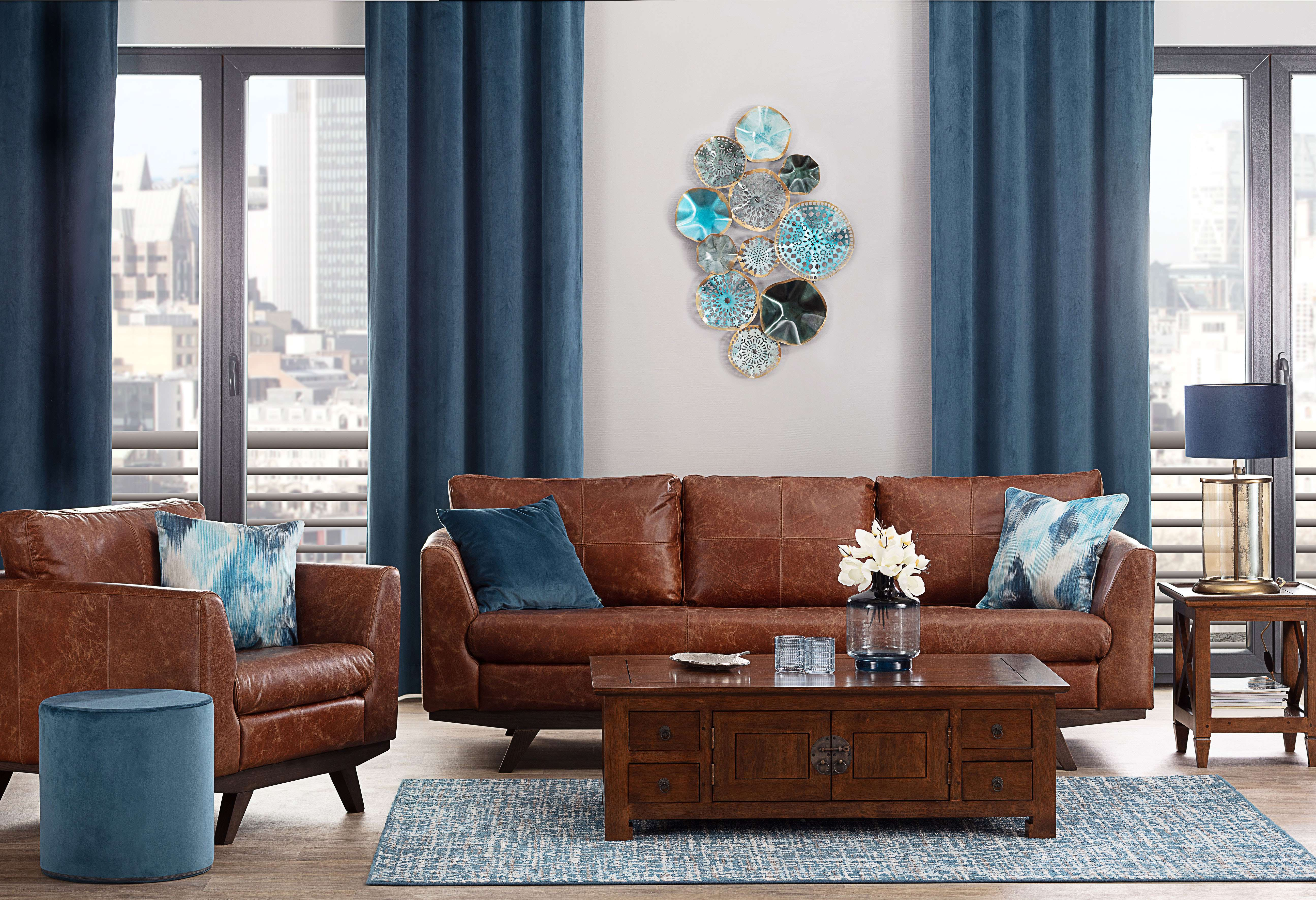 Tan Leather & Blue Living Room