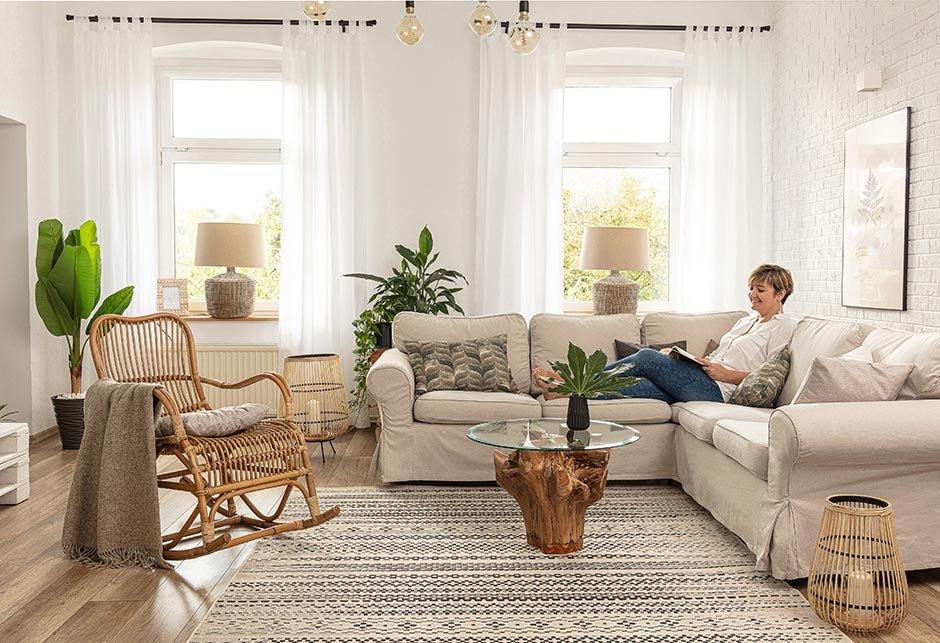 Pokojná obývačka v štýle Boho